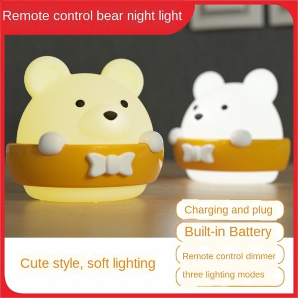 top popular Remote control LED night light bedroom bedside sleep baby eye protection table table Luminous desk lamp for nursing and nursing luminous ene 2021