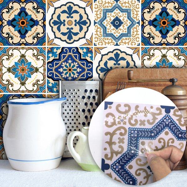 Telhas marroquinas PVC À Prova D 'Água Auto adesivo Papel De Parede Mobiliário Banheiro DIY Árabe Telha Etiqueta home party decor 15 * 15 cm / 20 * 20 cm FFA2198