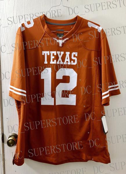 Billiger kundenspezifischer Earl Thomas Texas Longhorns Jersey Burnt Orange Customized Beliebiger Name Nummer Genähter Jersey XS-5XL