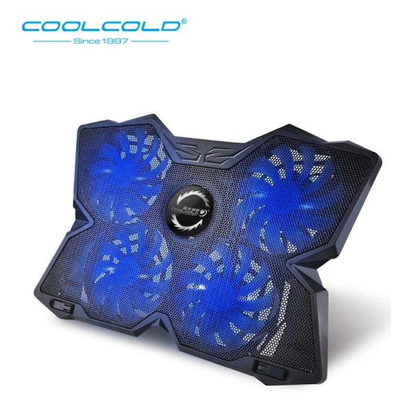 COOLCOLD Four Fans Laptop Cooling Pad Notebook Stand LED Light 2 USB Type Fit For 12-17inch Notebook Gaming Daily Use