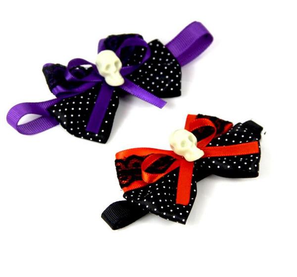 Yeni Pet yavru Kedi Köpek cadılar bayramı noktalar kafatası papyon aksesuarları kolye yaka pet ilmek için ilmek kravat t ...