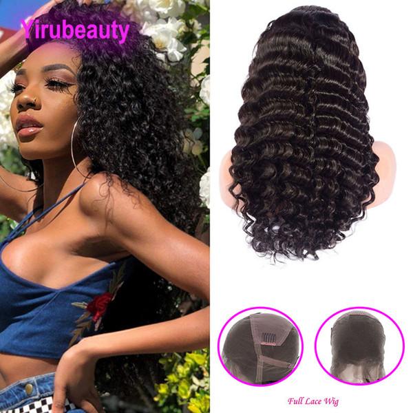 Perruques pleines en dentelle prépluchées de cheveux humains non transformés indien avec des cheveux de bébé 8-32inch vague profonde bouclée produits pour cheveux vierges profondes bouclés