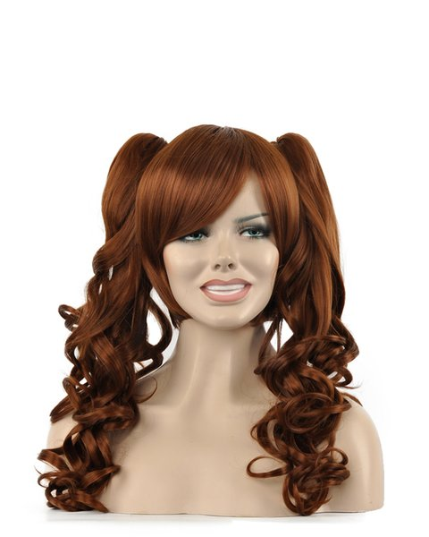 Beauty Women Long Brown Curly Wavy Hair Oblique Bangs Double Ponytail Kanekalon Heat Resistant Cosplay Party Hair Full Wig Wig