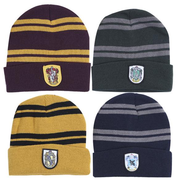 Harry Potter Beanie Hat Gryffindor Magic Movie Cap Letter Print Knit Hat Cosplay School Warm Winter Striped Badge Hats TTA1329