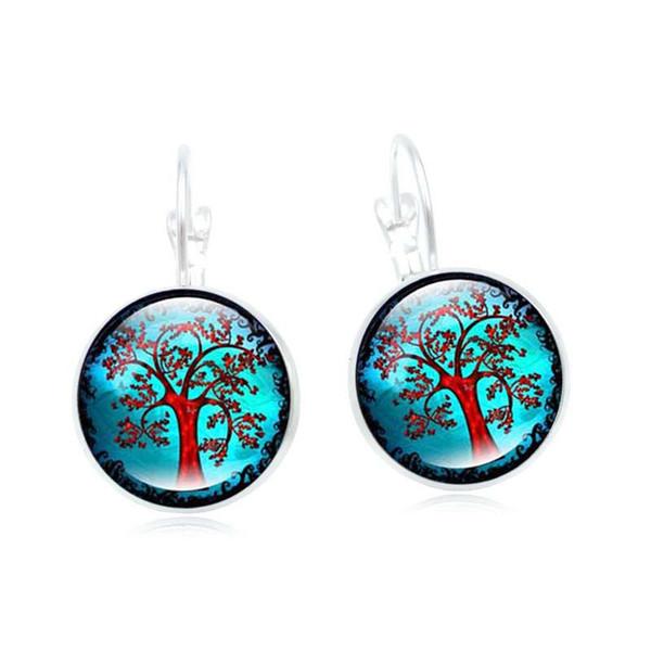 New hot sale jewelry retro life tree time gemstone earrings ear hook fashion creative exquisite earrings wholesale