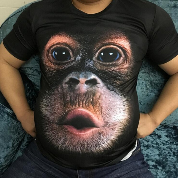 Spring summer mens t-shirts for man with 3D print Animal monkey T-shirt short sleeve funny design Casual Tops tees drop man