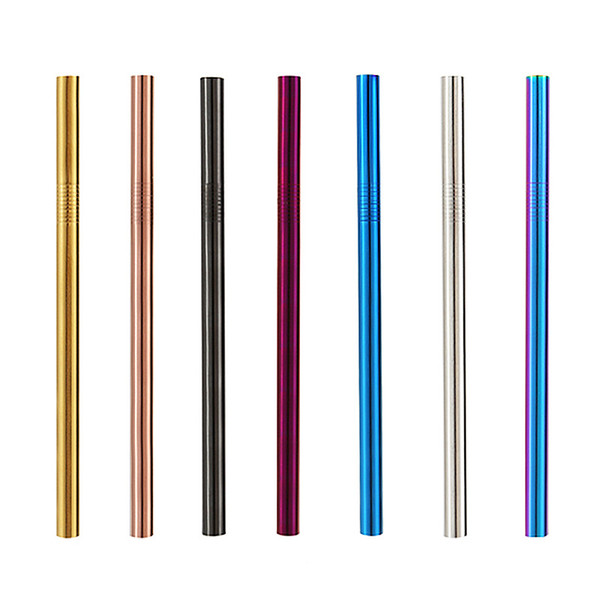 top popular 12mmx215mm Stainless Steel Drinking Straw Wide Long Reusable Fat Metal Smoothie Straws Factory wholesale LX0211 2021