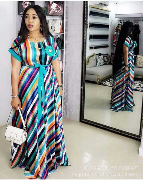 best selling 2019 Summer color dress long loose stripe maxi dress for girl fashion africaine robe african women clothing africa clothes