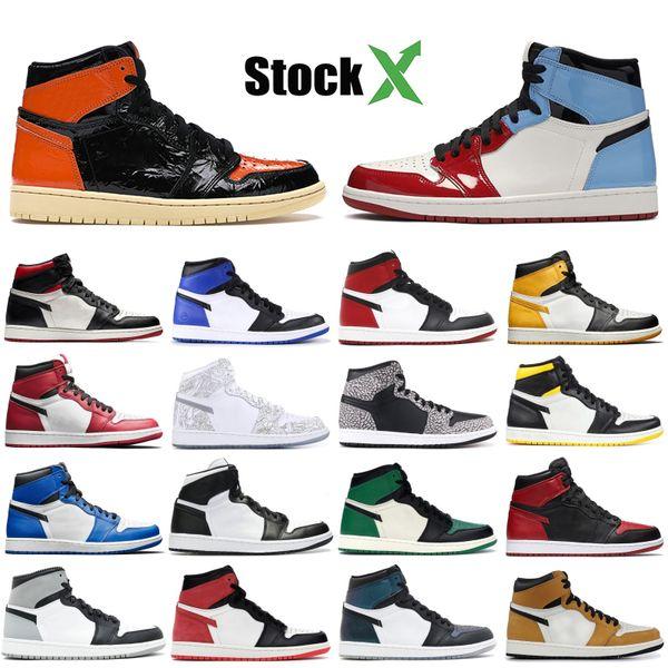 Yeni Jumpman Basketbol ayakkabıları Yüksek Arkalık Korkusuz Travis Scotts Mens Tasarımcısı Sneakers siyah ayak altın ayak çam yeşil Koşu Shattered