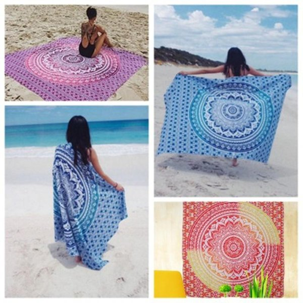 Polyester Praça Toalha de Praia 150 * 150 centímetros Hippie Mandala Tapestry Toalha Yoga Mat protetor solar xaile Picnic Mat Home Decor
