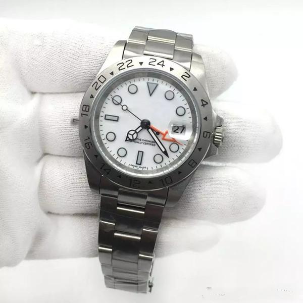 Vendita calda Mens Watch EXP quadrante bianco Movimento meccanico automatico acciaio inossidabile Orologi da uomo Orologio da polso maschile.