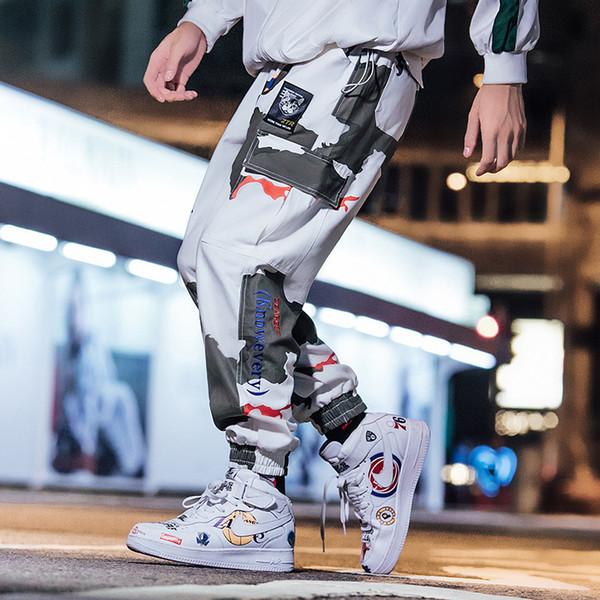 Mens Cargo Pants Camouflage Jogging Pants Womens Zipper Overalls Beam Foot Trousers Irregular Joggers Pants Fashion