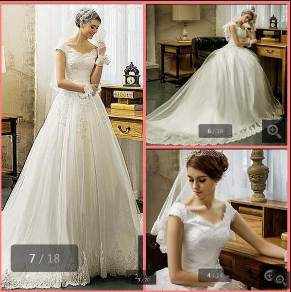 Robe de Mariage ball gown cap sleeve lace appliques v neck wedding dresses modest princess puffy cheap bride gowns best selling