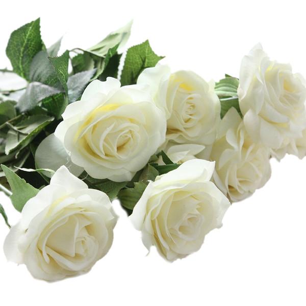10 pcs latex Real Touch Fleurs artificielles Rose Décor Rose Fleurs en soie florale bouquet de mariage Partie à la maison blanche Design