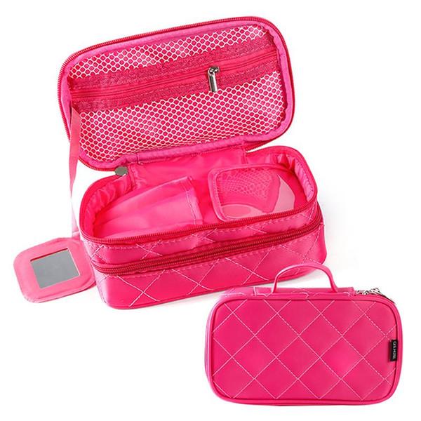 Fashion Geometric Pattern Compartment Cosmetic Bag Women Female Beauty Makeup Tools Bag Female Organizer