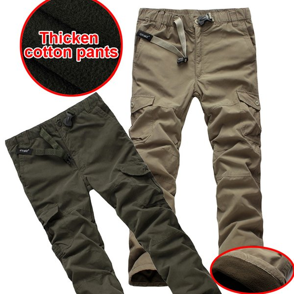 Wholesale-Plus size Winter Double Layer Men's Classic Cargo Pants Warm Thick Pants Baggy Pants Cotton Fleece Trousers For Men Army Green