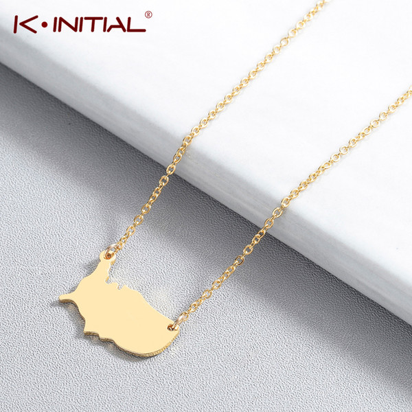 Kinitial Stainless Steel Map Necklace USA Map Pendant United States Chain Necklace Charm Chain for women Statement Jewelry