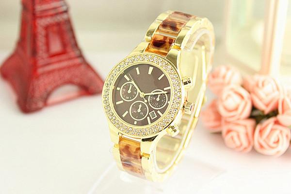 Montre de luxe moda reloj de diamante completo Señoras vestido de oro pulsera reloj de pulsera nueva etiqueta modelo diseñador de las mujeres relojes Joyería regalo de la muchacha
