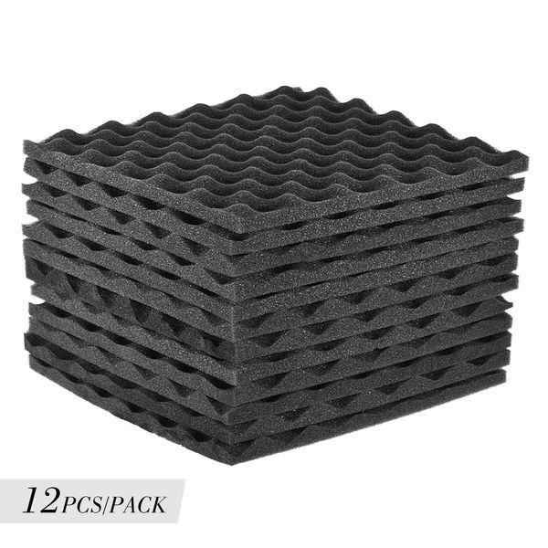 top popular 12 pcs Soundproofing Foam Studio Acoustic Foams Panels Wedges 12X12 inch Soundproof Absorption Treatment Panel 2021