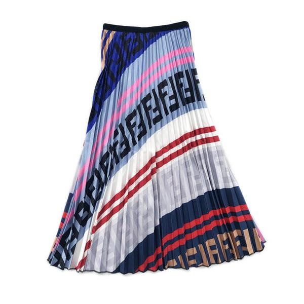 Vestidos con estampado de letras FF para mujer Diseñador de damas de lujo Falda plisada de verano colorida Falda de paraguas con cintura elástica