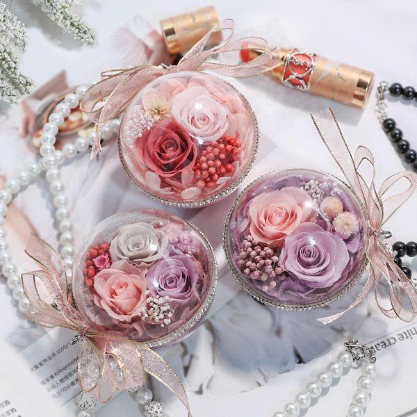 Eternal Flower Keychain Pendant Creative Valentine's Day Eternal flower car pendant jewelry high-end car interior ornaments