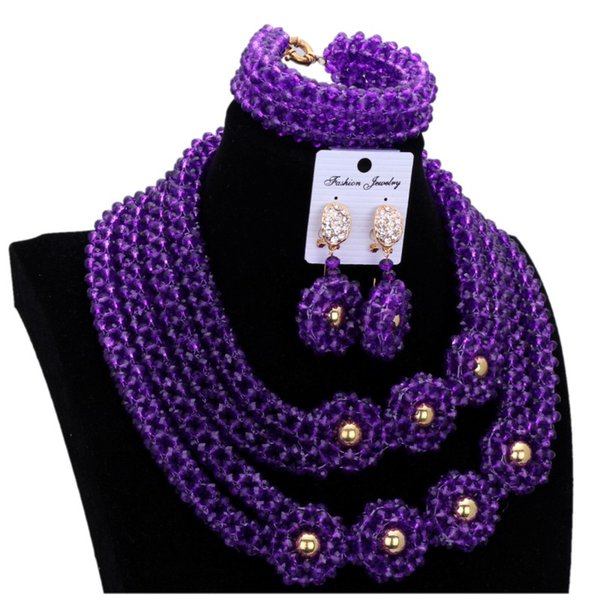 African jewelry Set Purple & Gold Dubai Jewellery Set of Brand 4 Layers Vintage Necklace Set Wedding Beaded For Women Free Ship