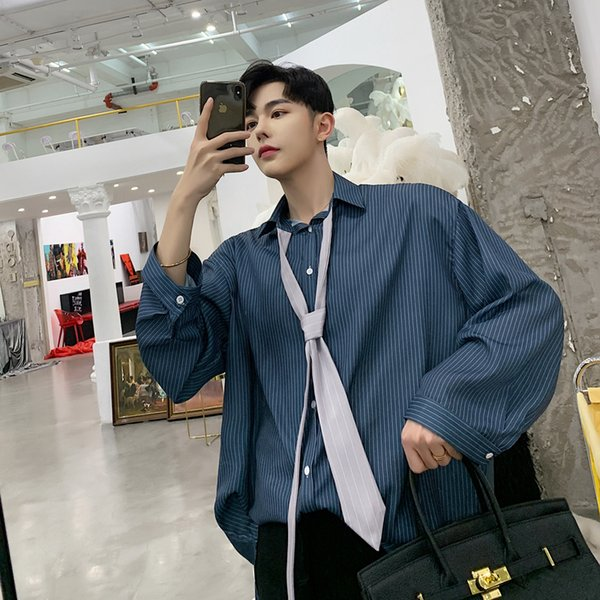 2019 Spring And Summer Models Korean Trend Loose Casual Youth Solid Color Striped Hawaiian Shirt Streetwear Fashion Recommend