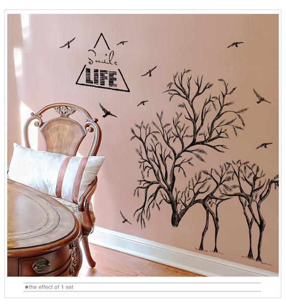 1 Pcs Tree Branch Wall Sticker Vinyl DIY Deer Birds Animal Murals Decals for Living Room Bedroom House Decoration