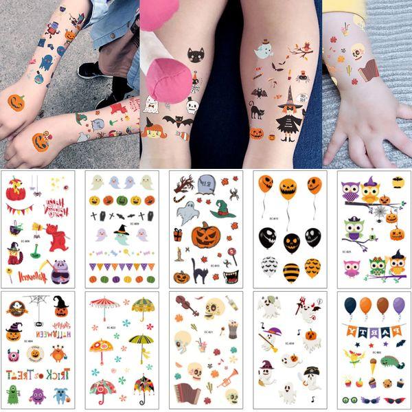 Temporary Halloween Day Tattoo Sticker Tiny Pumpkin Ghost Umbrella Decal for Women Men Body Face Arm Neck Hand Art Tattoo Event Party Supply