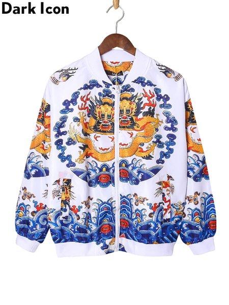 Dark Icon 3D Dragon Printed Bomber Jacket Men 2019 Spring Thin Jackets Men Hip Hop Jacket Street Clothing Asian Size