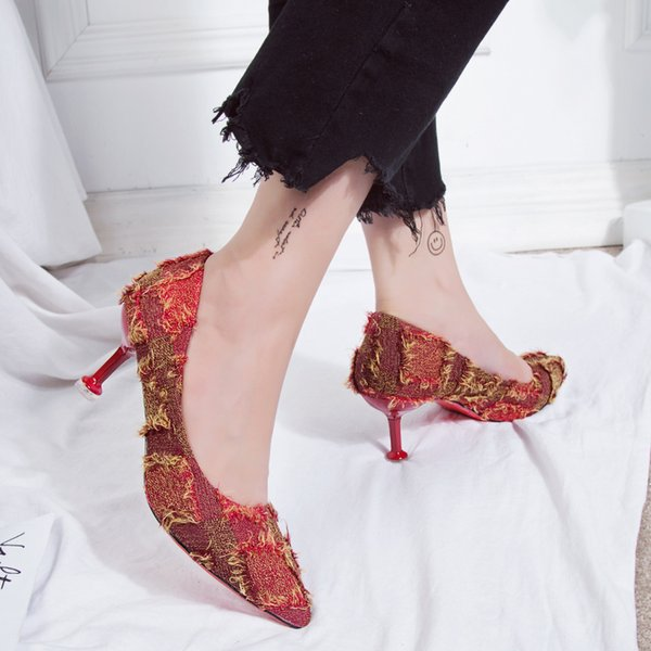 Designer Dress Shoes Women Pumps Sexy Plaid Cloth Strap Ruffles High Heels Party Pointed Toe Spring Ladies Wedding Black Red Blue