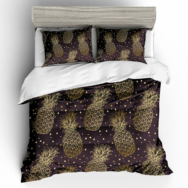 Pineapple Chocolate Gold Bedding Set King Luxury 3D High End Duvet Cover Queen Home Textile Double Single Bed Cover with Pillowcase