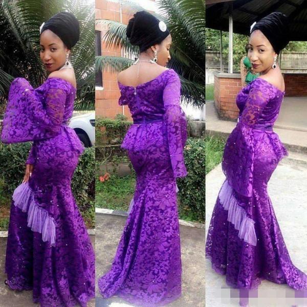 Aso Ebi Purple Off Shoulder Long Sleeves Evening Gowns Lace Poet Mermaid Prom Dress Long Zipper Back Peplum Formal Party Dress Women Wear
