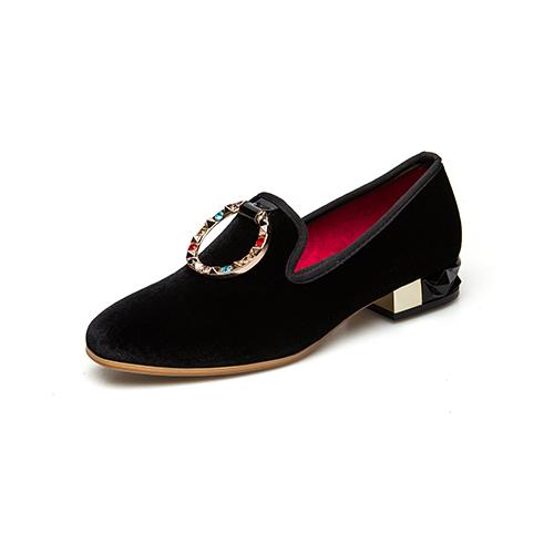 2019 Spring Autumn Women Pumps Low Heels Genuine Leather Brand Pumps Luxury Metal Buckle With Diamonds Party Shoes