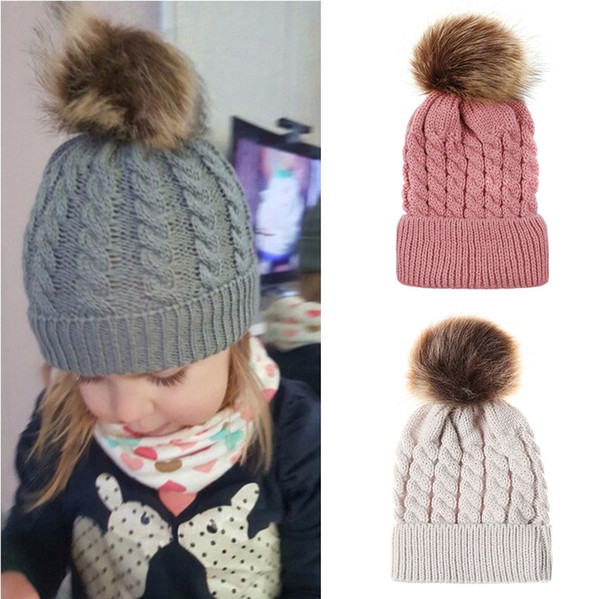 best selling Baby Crochet Caps Kids Fur Ball Twisted Knitted Hats Imitation Braid Hair Ball Wool Cap Children Winter warm Hat 9 Colors Accessories M559
