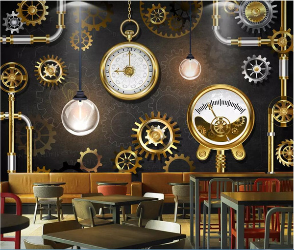 Kundenspezifisches Foto der Tapete 3d europäische und amerikanische industrielle Stereowindgoldene Ganguhren-Tafelhintergrundtapete für Wände 3 d
