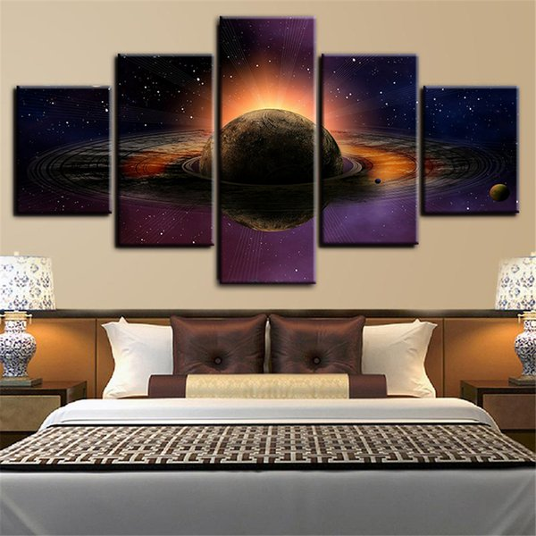 5 Panels Large Size Planet with Moons - 3D Space Framed Art Print Picture Poster Art Home Decor Oil Painting on Canvas