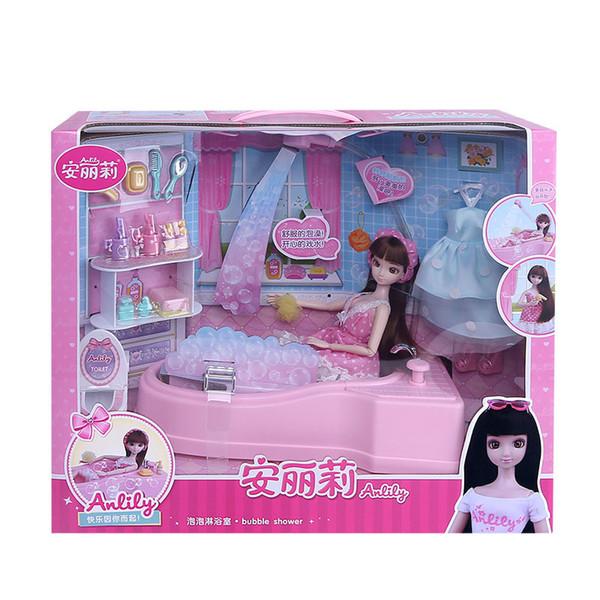 cadeaux éducatifs de fille poupée Toy Bubble bricolage jouets de bain baignoire Coffret cadeau Maison Meubles pour enfants