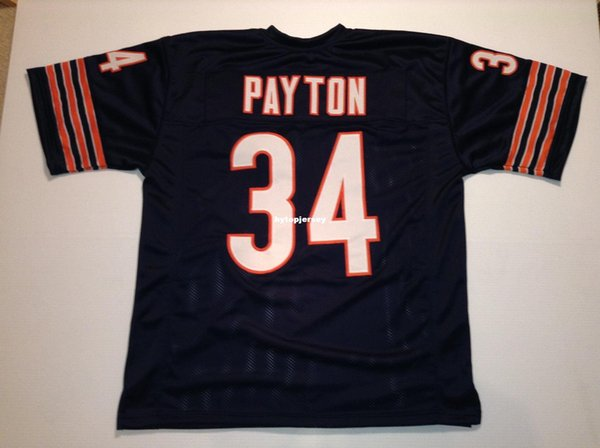 Cheap Retro custom Sewn Stitched #34 Walter Payton Blue MITCHELL & NESS Jersey Men's Football Jerseys College NCAA