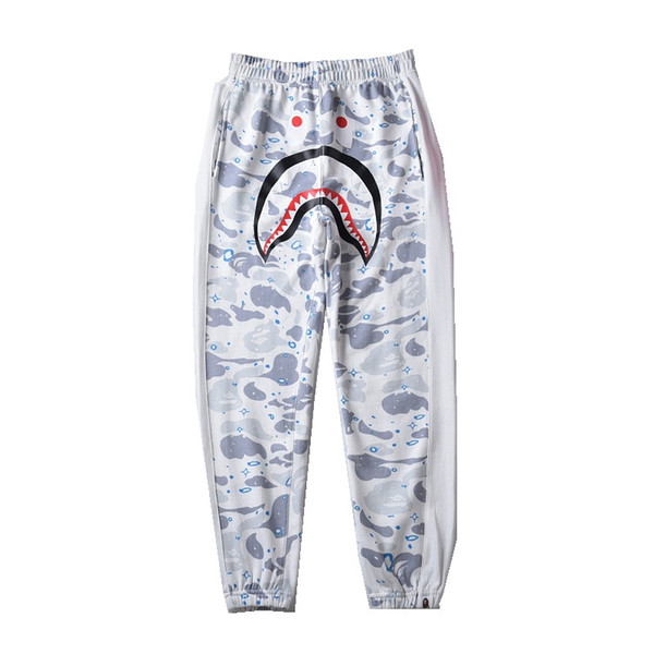 2019 New Men Camouflage Casual Pants Shark Printing Thin Pants Trouser Lover Casual Hip Hop Women Sweatpants