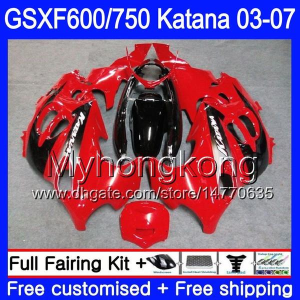 GSXF-600 For SUZUKI KATANA GSXF 750 600 Stock red blk hot GSXF600 03 04 05 06 07 293HM.42 GSX 750F GSXF750 2003 2004 2005 2006 2007 Fairing
