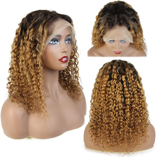 Curly Ombre 4X4 Silk Base Lace Front Human Hair Closure Wigs With Baby Hair Brazilian Remy Hair Full Lace Wigs For Women Pre-Plucked