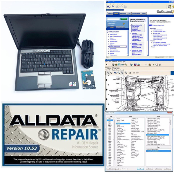 Auto soft-ware All Data Repair soft-ware Alldata 10.53 + mitchell 2015 1TB HDD 2in1 installed in D630 4G laptop Windows7