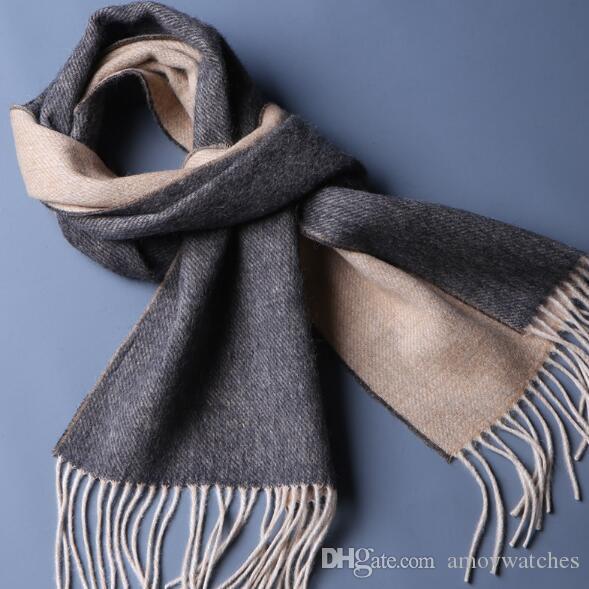 가을과 겨울 패션 남성 스카프 이중 색상 순수한 모직 새로운 따뜻한 망 목 스카프가 드리 워진