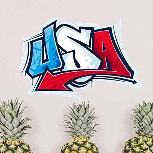 ABD Amerika Kelimeler Desen Illüstrasyon Çıkarılabilir Duvar Sticker Şehir Binaları Sanat Çıkartmaları Mural DIY Duvar Kağıdı Odası Çıkartması için