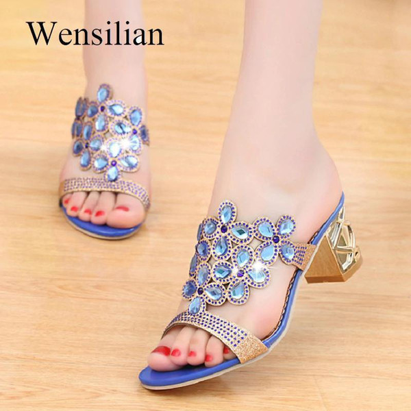 Designer Sandals Women Nice Ladies Slides Women Slippers Sandals Summer Crystal Shoes Peep Toe Middle Heels Zapatos Mujer
