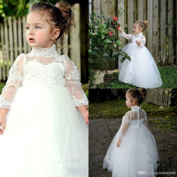 Pure White Princess Flowers Mädchen Kleider High Neck Lace Langarm Tüll Kinder Kleinkinder Pageant Prom Abendkleider Für Hochzeit Party Kleid
