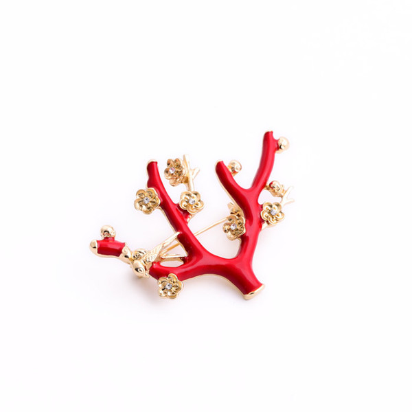 Exquisite Red Tree Bird Lovely Brooch Brincos Sweater Pin Badge Pet Memorial Jewelry Scarf buckle Bijoux Christmas gift X1093