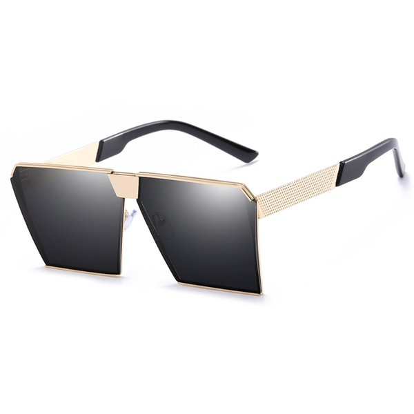 New Large Frame Sunglasses Metal Glasses Multi Double Hinge Personality Sunglasses Men And Women General Driver Mirror
