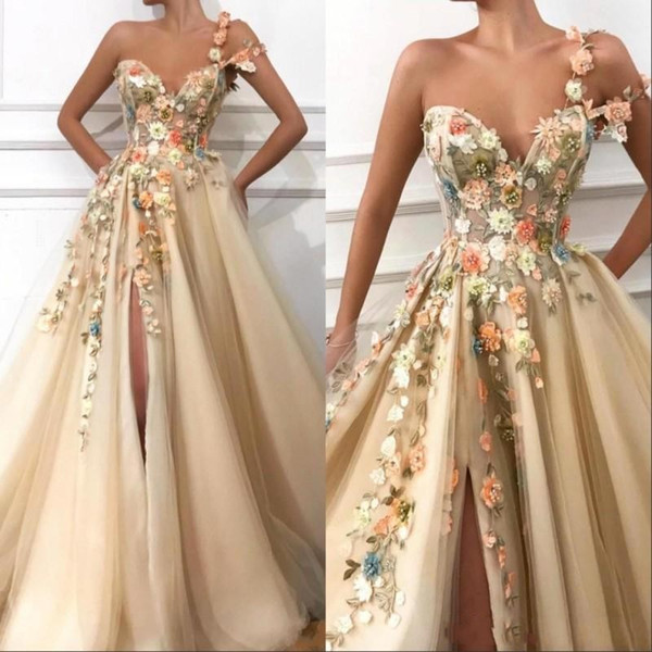2019 New Sexy One Shoulder Prom Dresses Lace Appliques 3D Floral Flowers Beaded Split Champagne Tulle Special Occasion Evening Dresses Wear